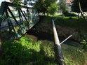 Potrubní přemostění Kyjovky pod železným mostem v Bohuslavicích.
